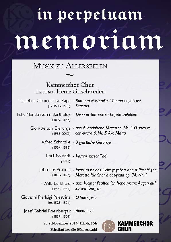 Memoriam- Konzertprogramm